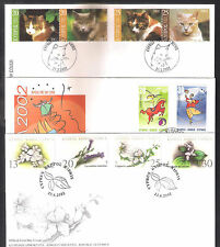 CYPRUS 2002 COMPLETE YEAR SETS OFFICIAL+UNOFFICIAL FDCs: 8 SETS, 23 STAMPS+1 M/S