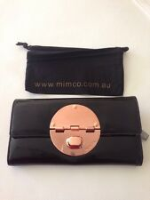 NWT MIMCO Large ROSE GOLD Turnlock Wallet-Black Patent Leather RRP$199