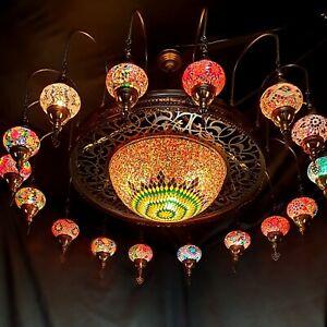 16 Ball Turkish Moroccan Large Mosaic Chandelier Lamp Light Hallway Restaurant