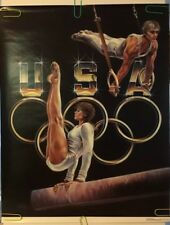 Original Vintage Poster 1987 Sheila Wolk 1988 Summer Olympics Gymnastics 80s