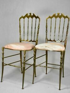 Pair of mid-century solid brass couture chairs by Chiavari