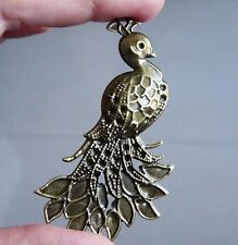 5pcs Large Peacock Charm Pendants Necklace Earring Making Supplies Brass Tone