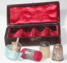 ETUI,4pc ANTIQUE c1800 Original Box~TAPE MEASURE,Thimble,WAX,CUSHION~Silver
