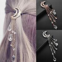Moon Crystal Rhinestone Beads Dangle Hairpin Hair Clip Women Bridal Jewelry NEW