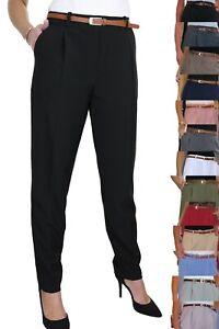 ICE (1539) Tapered Leg Smart Soft City Trousers FREE Belt Size 8-22