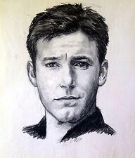 "Original Charcoal Drawing""Young Ben Affleck""by Qi Debrah,Portrait,Size""18""x23"""