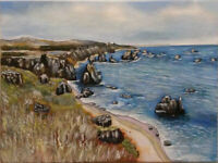 Californian Coastline - Canvas Print of Landscape Painting 30x20cm signed