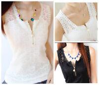 Women Sexy Floral Lace Crochet Vest Sleeveless Black/White Tank Top Shirt Blouse