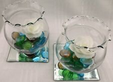 Two Floating Rose Candle Holders Vase Colored Glass Pebbles Stones Mirror Tile