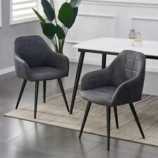 More details for set of 2 faux matte suede leather dining chairs accent home & restaurants adrian