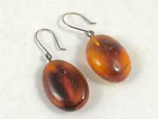 Vintage Polished Amber Drops Dangle Hook Earrings With An Bug Insect Inclusion
