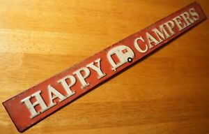 Rustic Vintage HAPPY CAMPERS Tin Sign Trailer RV Camping Cabin Lodge Home Decor