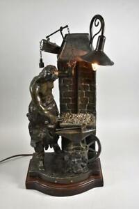 Figural Blacksmith Lamp France La Veillee Du Forgeron
