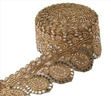Hand Beaded Bridal Border 1 YD Trim Golden Craft Lace Mirror COLLECTIBLE EDH