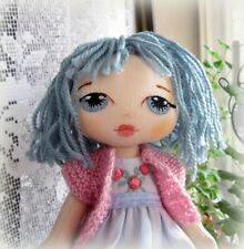 Handmade textile doll 27cm/10in with blue hair embroidered face gift toy