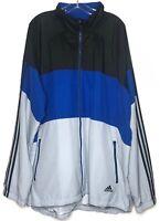 Adidas Mens Full Zip Windbreaker Jacket Mesh Lined Zip Pockets 3 Stripe Size 2XL