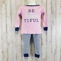 Koala Kids Toddler Girl Pajamas 18 Mos Pink Blue/White Stripe Two Piece CUTE