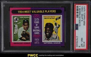 1975 Topps Mini Yogi Berra & Willie Mays '54 MVPs #192 PSA 8 NM-MT