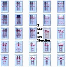 ORGAN SEWING MACHINE NEEDLES FULL RANGE OF DOMESTIC NEEDLES 3 for 2 On Packs
