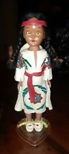 RARE ☆ Native American Indian Girl Doll w/ Baby Papoose & Painted Leather Dress