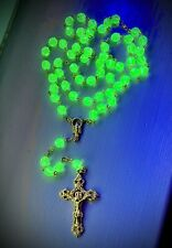 Vaseline Uranium Glass Rosary w/ Gold Plated Crucifix