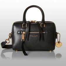 NWT $495 Authentic Marc Jacobs Leather Recruit Large Bauletto Satchel Black Gold