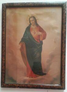 Stampa antica Sacro Cuore Gesù in cornice 40 x 31 cm AFFARE (229) Come foto