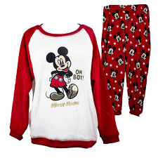 Disney Mickey Mouse Ladies Womens Fleece Warm PJs Pyjama Sets 8 10 12 14 16 18