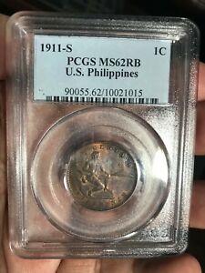 US PHILIPPINES 1911-S ONE CENTAVO PCGS MS 62 RB