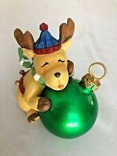 "Tan Green Multi 4"" Deer Holding a Ball Ornament Figurine"