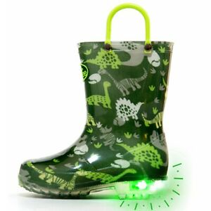 Outee Toddler Kids Adorable Printed Light Up Boys Rain Boots Flashing in Rain