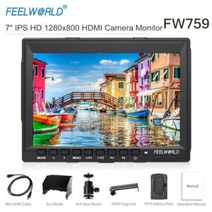 UK FEELWORLD FW759 7 inch IPS Camera Field Video Monitor w Sunshade for all DSLR