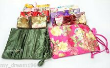 wholesale 10pcs SILK JEWELRY TRAVEL BAGS Roll Case Pouch Jacquard Brocade Fabric