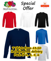 Fruit of the Loom Long Sleeve T Shirts 3 4 5 6 Pack Plain Tee Shirt Top T Shirt