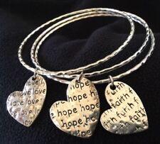 Womens / Ladies Love, Hope&Faith Silver Bangle Bracelets, 3 Individual Bangles