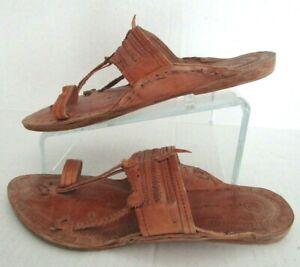 Men Handmade Hippie Buffalo Sandals All Leather Indian Kolhapuri Chappal Size 11