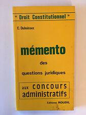 MEMENTO DES QUESTIONS JURIDIQUES 1986 DUBUISSEZ ROUDIL CONCOURS ADMINISTRATIF