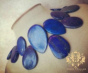 Genuine Lapis Lazuli Natural Gemstone Statement Necklace Blue Gold Slab Jewelry