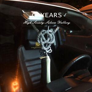 2Pcs JP JDM Black White Kiku Knot & Silvery Kin Rope For Car Rearview Mirrors