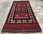 Hand Knotted Afghan Balouch Gul Barjista Kilim Kilm Wool Area Rug 5 x 3 Ft