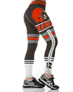 Women Legging Cleveland Browns Digital Printed High Waist Wide Belt Sport Pants