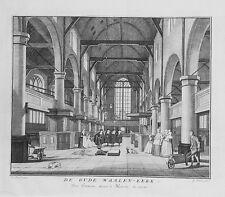 Antique map, De oude waalen kerk van binnen naar 't westen te zien