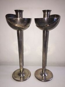 """Pair Swid Powell David Palterer 12"""" Silver Plate Brutalist Candle Sticks MCM"""