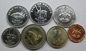 UGANDA SET 7 COINS 1987 - 2019 UNC