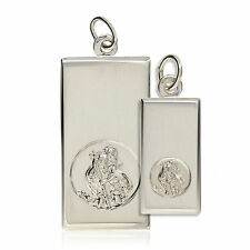 STERLING SILVER ST CHRISTOPHER INGOT DOG TAG PENDANT FREE ENGRAVING GIFT BOX
