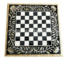 2'x2' Marble Chess Coffee Table Top Paua Shell Floral Inlay Interior Decors B005
