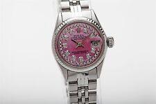 $7000 PINK MOP Diamond SS 18k White Gold Genuine ROLEX Datejust Watch & BOX WTY