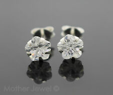6MM REAL SOLID 925 STERLING SILVER SIMULATED DIAMOND FLOWER LADIES EARRINGS