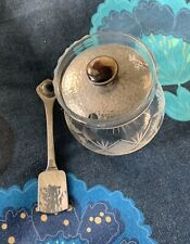 Glass Jam / Preserve pot with silver plated lid and Spoon -