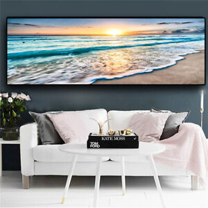 Gold Beach Sunset Panorama Canvas Poster Wall Art Picture Prints Decor Unframed